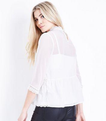 Off White Lace Peplum Hem Top New Look