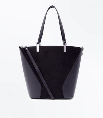 Black Contrast Panel Shopper Bag New Look