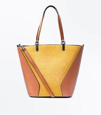 Yellow Colour Block Tote Bag New Look