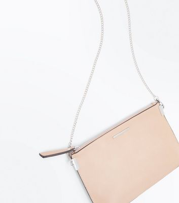 Nude Curved Flat Clutch Bag New Look