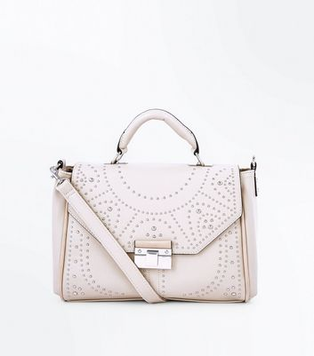 Cream Stud Embellished Satchel New Look