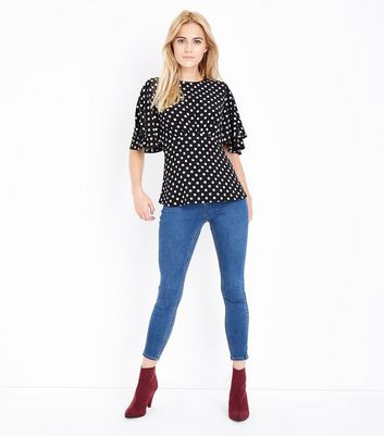 Black Spot Print Frill Sleeve Top New Look