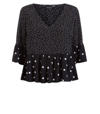 Black Contrast Spot Print Peplum Hem Top New Look