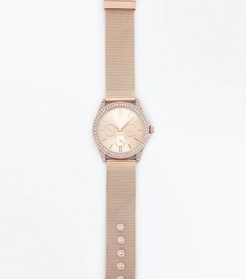 Pink Mesh Strap Diamante Embellished Watch New Look