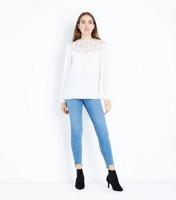 Off White Embroidered Yoke Blouse New Look