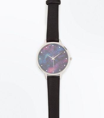 Black Cosmic Galaxy Print Dial Watch New Look