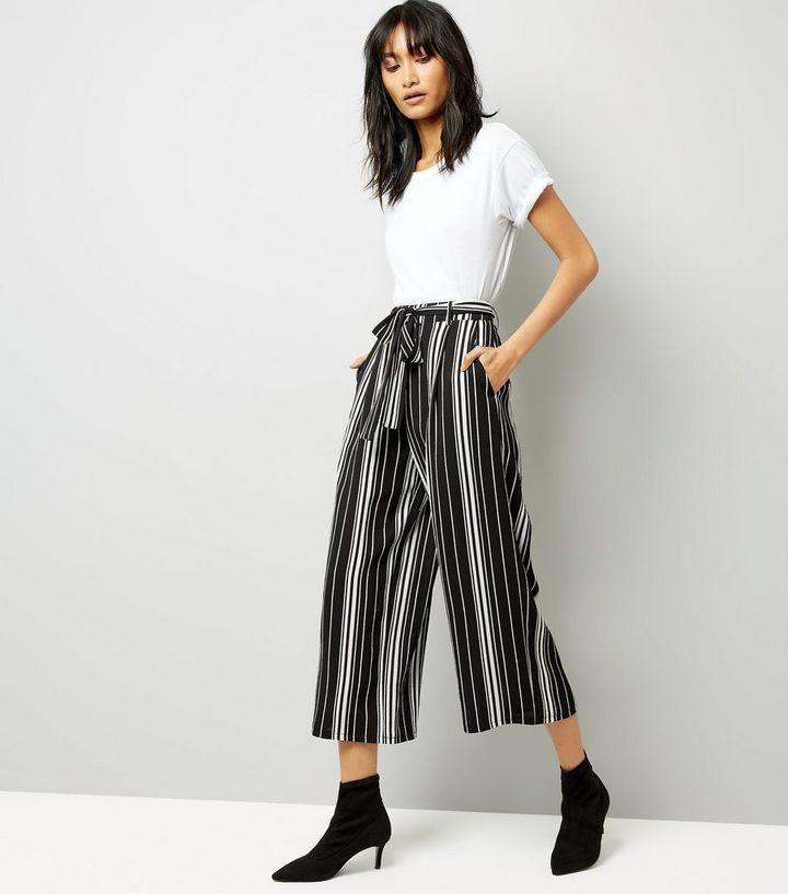 d15a1549a046 Tall Black Stripe Cropped Wide Leg Trousers