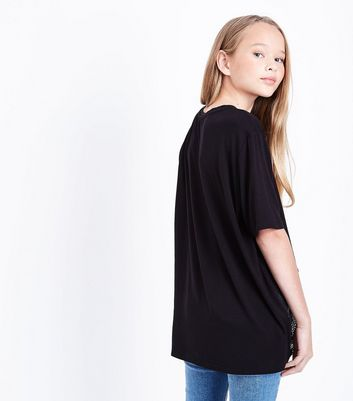 Teens Black Mesh Hem New York Slogan T-Shirt New Look
