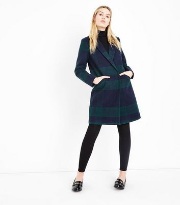 Green Check Longline Collared Coat New Look