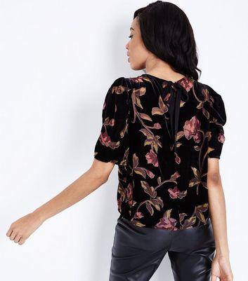 Black Floral Burnout Velvet Ruched Sleeve Top New Look
