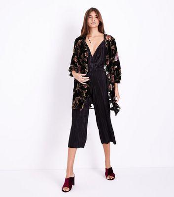 Black Premium Floral Devore Kimono New Look