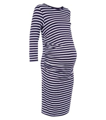 Maternity Blue Stripe Ruched Side Dress New Look