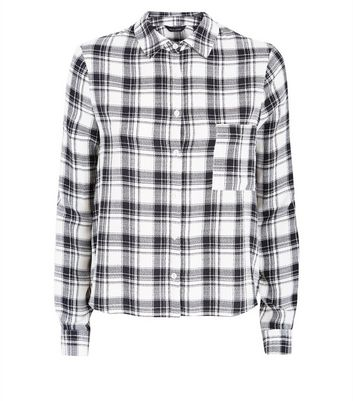 Monochrome Check Long Sleeve Shirt New Look