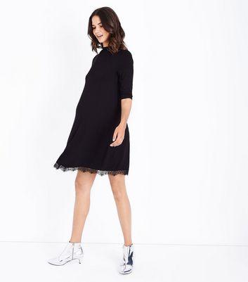 Maternity Black Lace Hem Jersey Swing Dress New Look