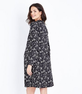 Maternity Black Floral Print Jersey Swing Dress New Look