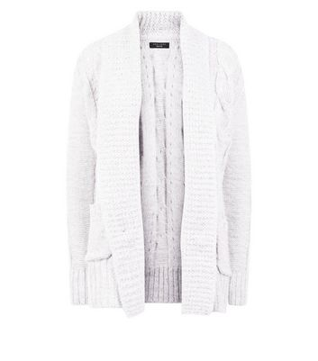 Petite Grey Cable Knit Cardigan New Look