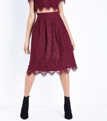 Burgundy Lace Scallop Hem Midi Skirt New Look