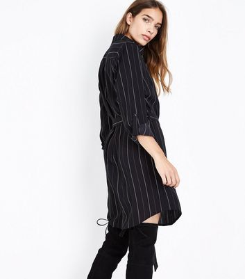 Black Stripe Zip Front Belted Shirt Dress New Look