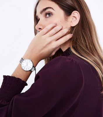 Silver Diamante Strap Analogue Watch New Look