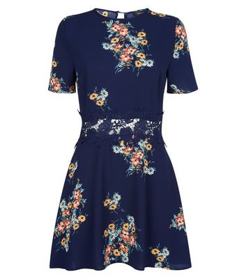 Blue Floral Lace Trim Skater Dress New Look