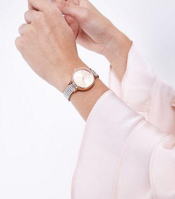 Pink Iridescent Diamante Strap Watch New Look