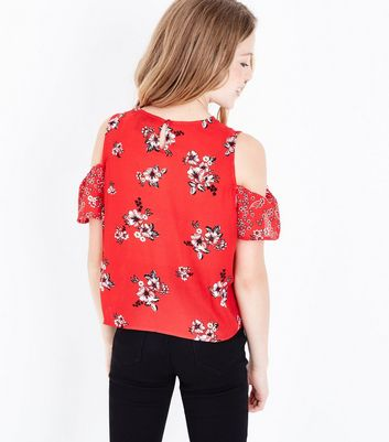Teens Red Floral Contrast Print Cold Shoulder Top New Look