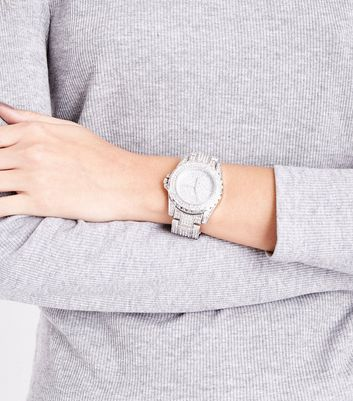 Silver Stone Embellished Sports Watch New Look