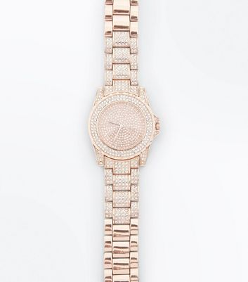Rose Gold Stone Embellished Sports Watch New Look