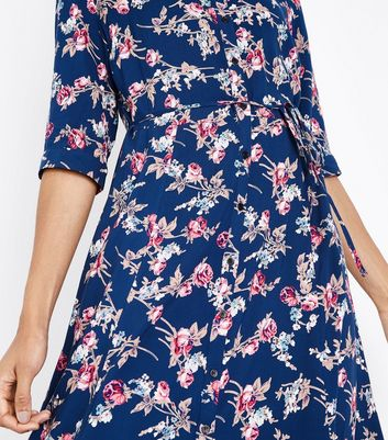 Blue Floral Print Maxi Shirt Dress New Look