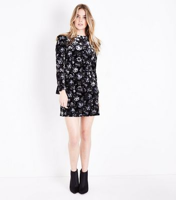 Black Floral Burnout Velvet Bell Sleeve Dress New Look