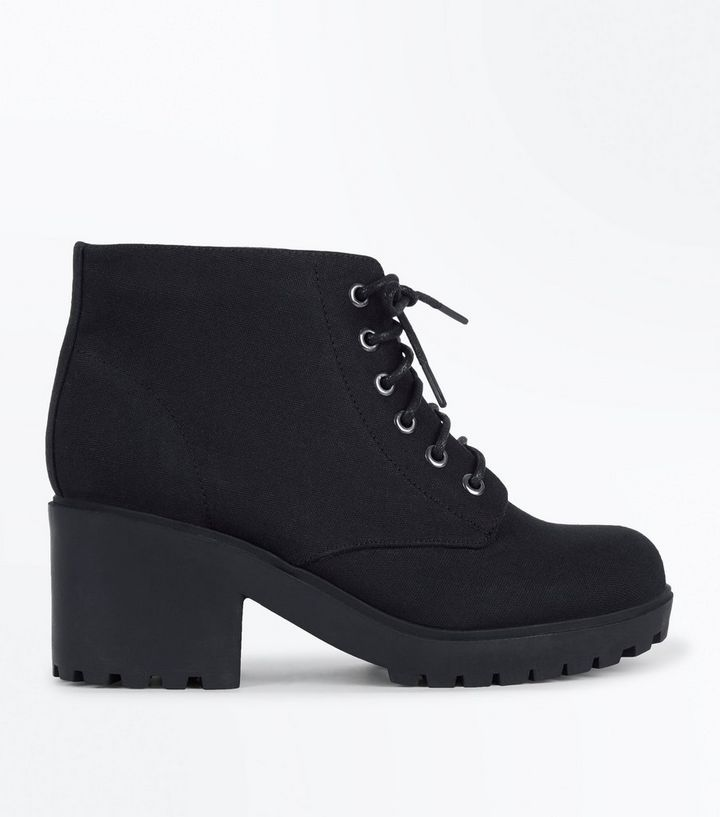 5b5f5817ec23 Teens Black Suedette Chunky Boots