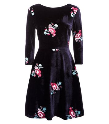Black Floral Embroidered Velvet Skater Dress New Look