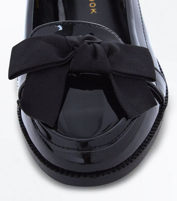 Teens Black Patent Bow Front Loafers New Look