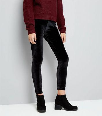 Teens Black Velvet Leggings New Look