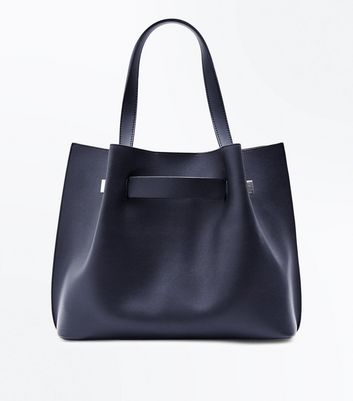 Black Ruched Tote Bag New Look