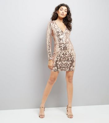 Parisian Shell Pink Sequin V Neck Dress New Look