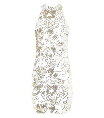 Parisian White Flower Sequin Mesh Dress New Look