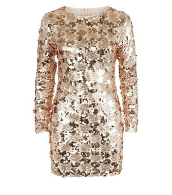 Parisian Shell Pink Sequin Embellished Long Sleeve Dress New Look