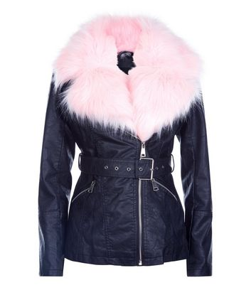 Parisian Black Contrast Faux Fur Lined Aviator Jacket New Look