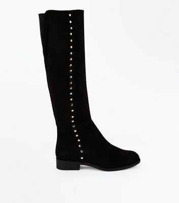 Wide Fit Black Suedette Stud Trim Knee High Boots New Look