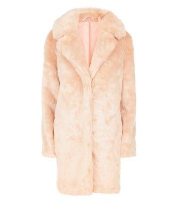 Parisian Pink Faux Fur Coat New Look