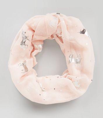 Pink Metallic Unicorn Embellished Snood New Look