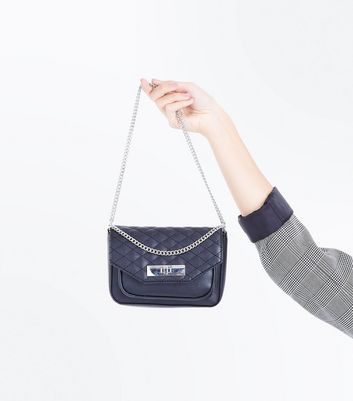 Black Quilt Chain Shoulder Bag New Look