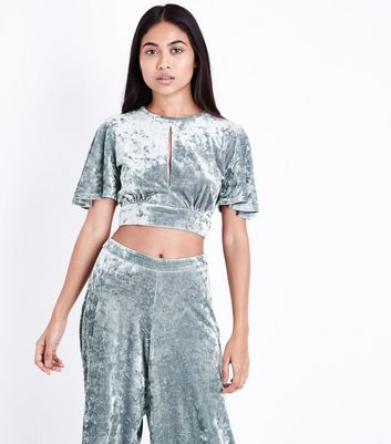 Petite Silver Velvet Tie Back Crop Top New Look