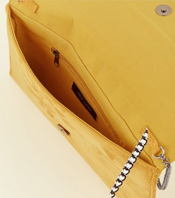 Yellow Chain Strap Envelope Clutch Bag New Look