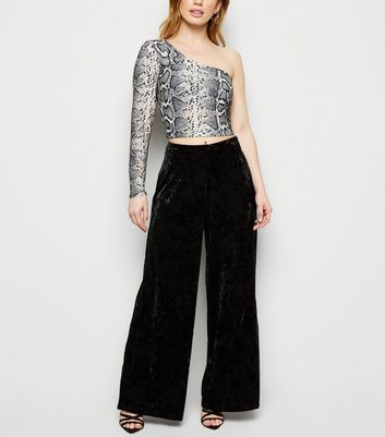 Petite Black Velvet Wide Leg Trousers