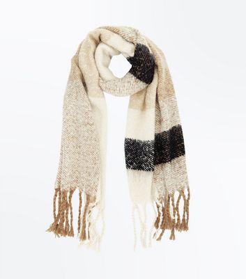 Mink Stripe Boucle Blanket Scarf New Look