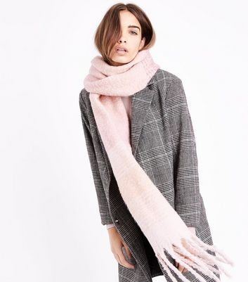 Pink Ombre Stripe Fringed Scarf New Look