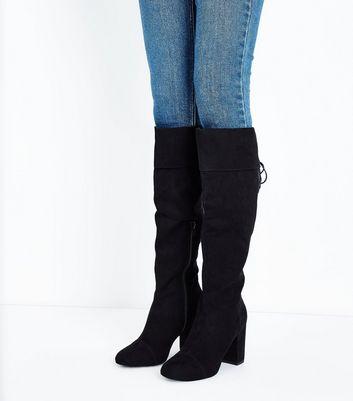 Wide Fit Black Suedette Block Heel Knee High Boots New Look