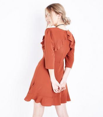 Petite Rust Frill Trim Skater Dress New Look